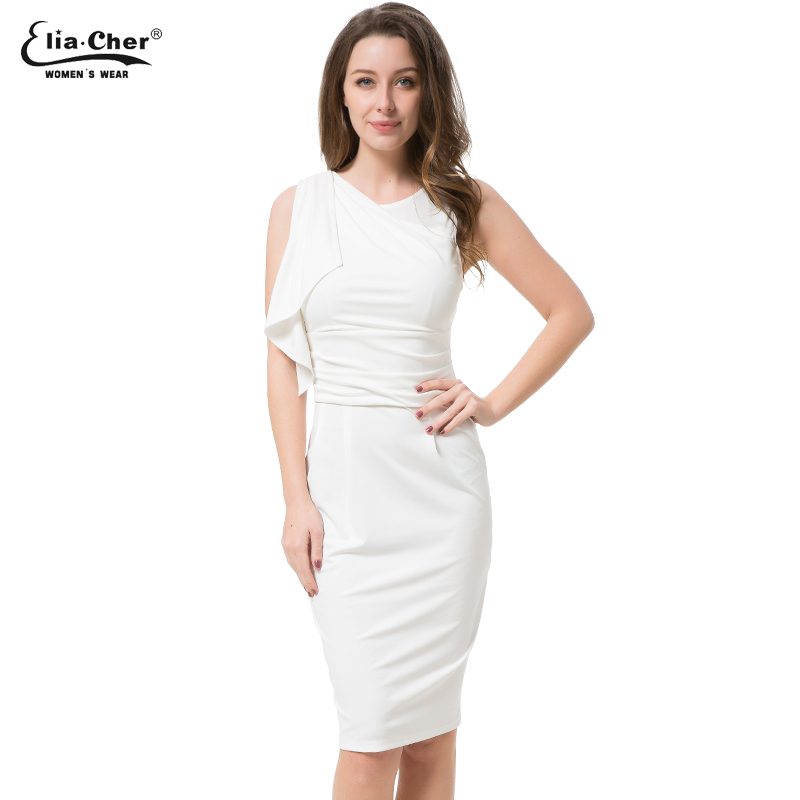 eliacher Official Store Womens Elegant Ruffles Sleeve Ruched Party Wear To Work Fitted Stretch Slim Wiggle Pencil Sheath Bodycon Dress Vestidos 8718