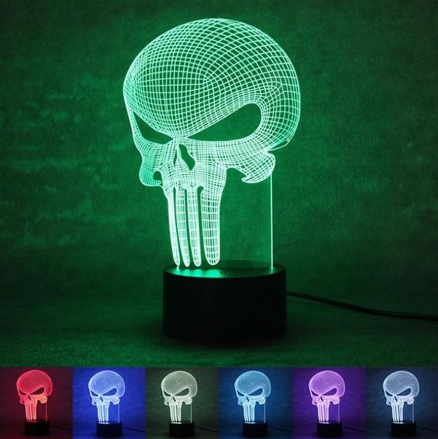 3D LED de Color Cambio de La Lámpara Bulbificación Punisher Skull multicolor Luz de Acrílico 3D Holograma Ilusión Lámpara de Escritorio para Niños