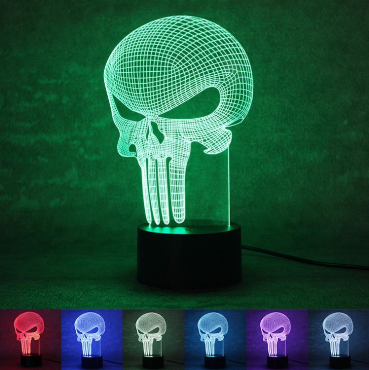 3D LED Color Changing Lamp Punisher Skull Multi-colored Bulbing Light Acrylic 3D Hologram Illusion Desk Lamp for Kids