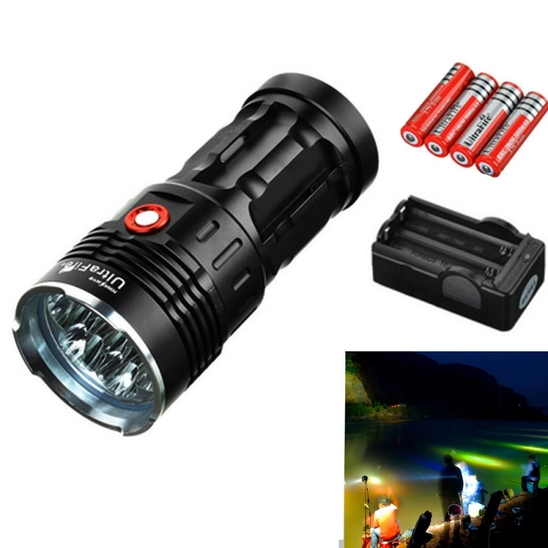 Ultrafire Light Flashlight XM-L T6 3 Mode 12000 LM Torch Lantern Hunting Tactical Flashlight 4 * 18650 Battery luz Flash LightUltrafire Light Flashlight XM-L T6 3 Mode 12000 LM Torch Lantern Hunting Tactical Flashlight 4 * 18650 Battery luz Flash Light