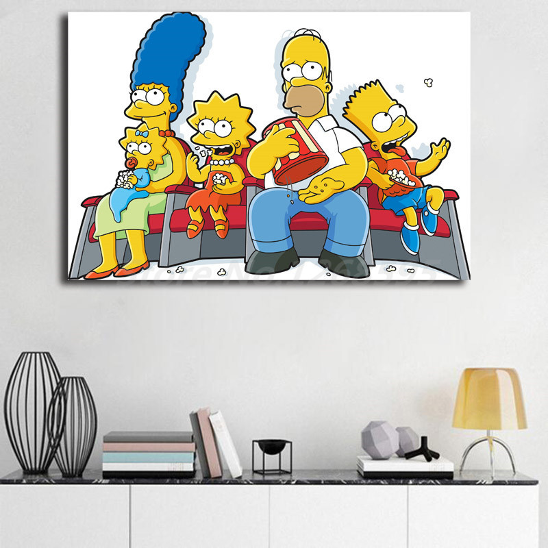 Simpsoning Watching A Movie HD Wall Art Canvas Posters Prints Painting Wall Pictures Modern For Office Living Room Home Decor