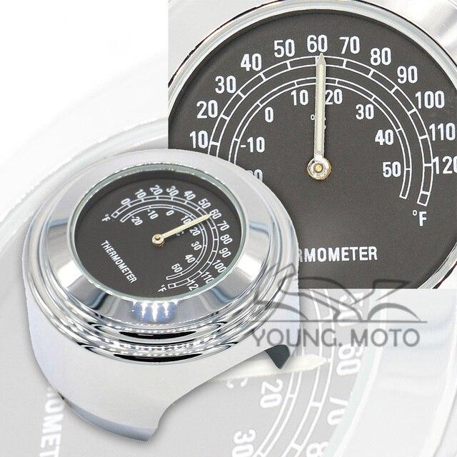 "25mm 7/8""-1"" Motorcycle Handlebar Thermometer Dial Temp Chrome Aluminum Bracket Black Face for Harley Davidson ATV Boat Marine"