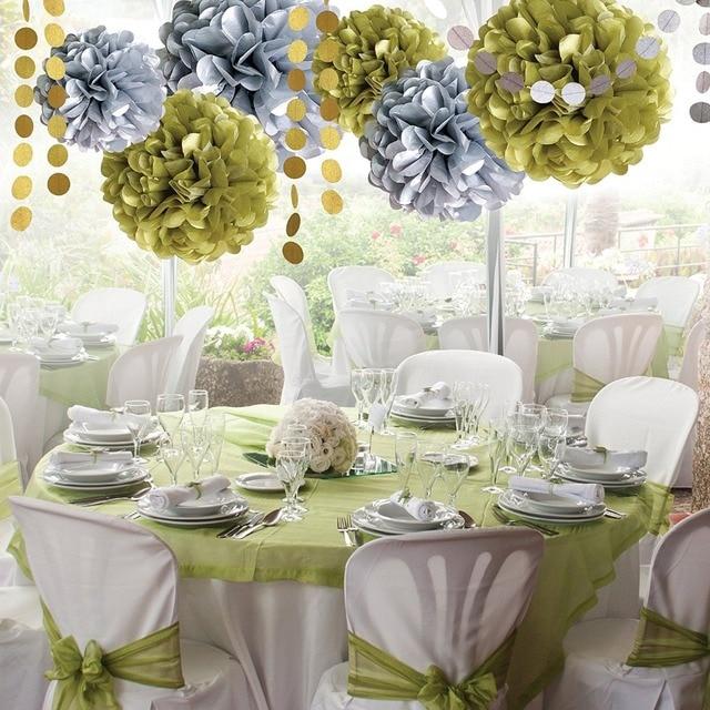 Zilue 8pcs Set Silver Gold Circular Folded Paper Flower Ball Party Supplies Wedding Decoration