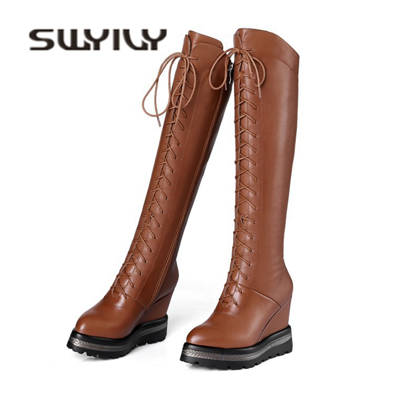 SWYIVY Winter Snow Boots Platform Wedge Genuine Leather 2018 New Female Lacing Up Casual Shoes Boots High Velvet Warm Snow Boot tie up pompons hidden wedge snow boots