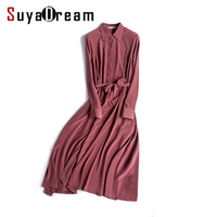 Women Silk Long Dress Solid Long Sleeve Dresses Luxury 100 Natural Silk Chiffon Belt Dress 2017