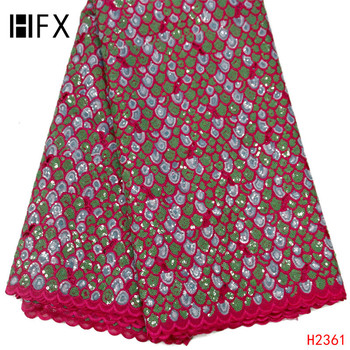 HFX African Lace Fabric 2019 Latest Dress Rose Red Mix Green Nigeria Bridal High Quality Lace Sequin Organza Lace Fabric X2361