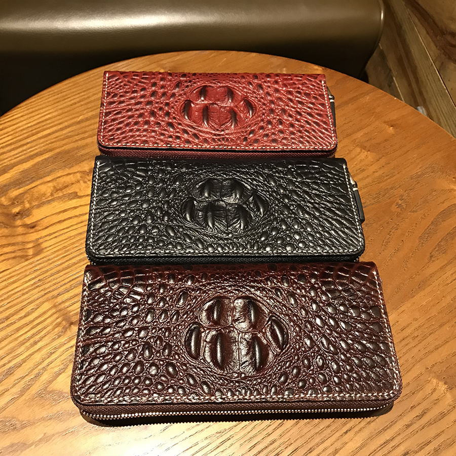 Imported leather Men Wallets Luxury Alligator Man Business wallet  Purses Business Card Holders Clutch Bag Handbags have box new arrival 2017 wallet long vintage man wallets soft leather purse clutch designer card holders business handbags clips