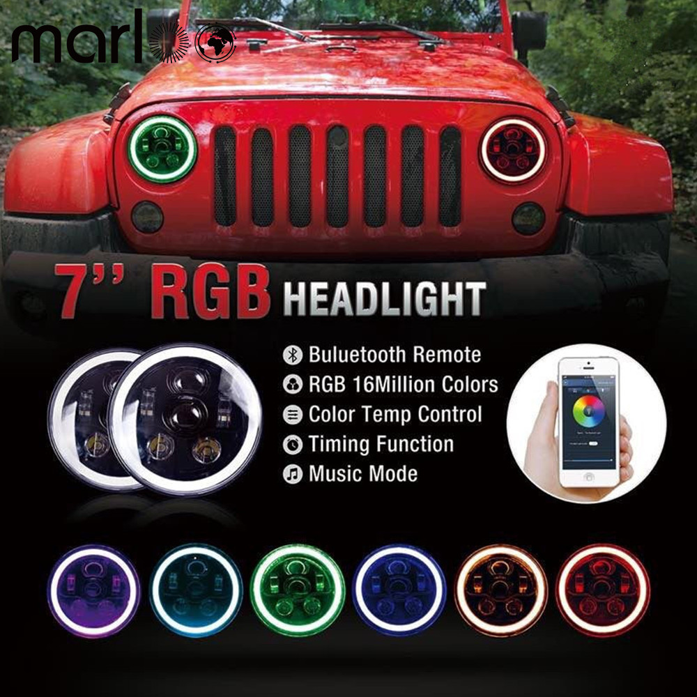 Marloo For Jeep Wrangler Halo Headlights RGB 7inch LED Headlamp Assembly 90W with Bluetooth Remote Control&Music Mode windshield pillar mount grab handles for jeep wrangler jk and jku unlimited solid mount grab textured steel bar front fits jeep