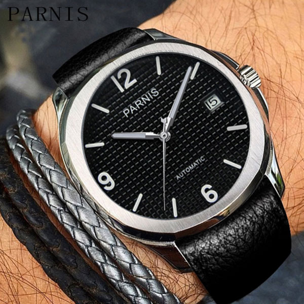 40MM parnis black dial date widnow leather strap deployment automatic movement mens watch 40mm parnis black dial date widnow stainless steel strap vintage automatic movement mens watch p24