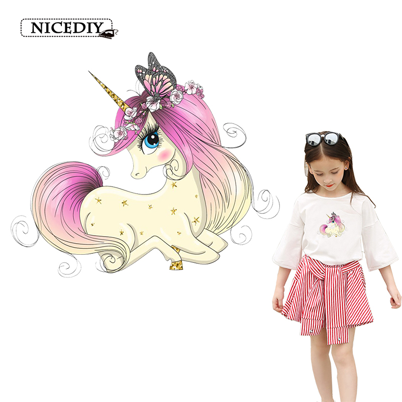 Nice DIY Cute Unicorn Families Ironing Patches Stickers for Parent child DIY Heat Transfer Funny Patch Appliques Accessory Badge in Patches from Home Garden