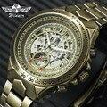 GEWINNER Offizielle Vintage Herren Uhren Top marke Luxus Automatische Mechanische Skeleton Uhr Kupfer Stahl Strap Mode Armbanduhr Mechanische Uhren Uhren -
