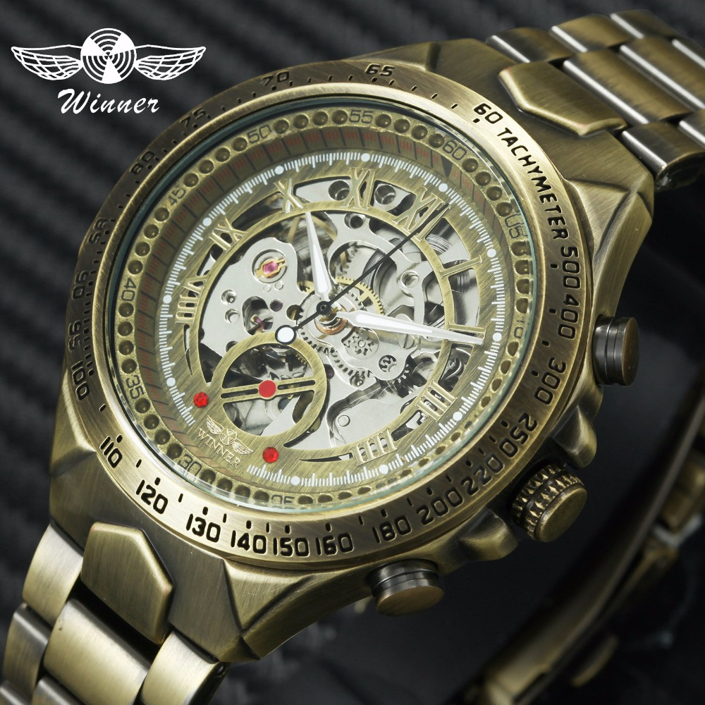 WINNER Official Vintage Mens Watches Top Brand Luxury Automatic Mechanical Skeleton Watch Copper Steel Strap Fashion Wristwatch