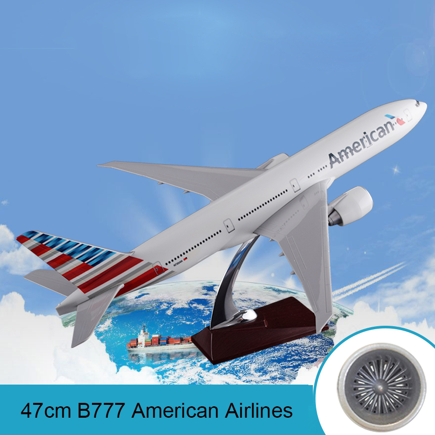 47cm Resin Boeing 777 American Airlines Airplane Model United States Airways B777 Airbus Model Aero Travel Gift Aircraft Model image