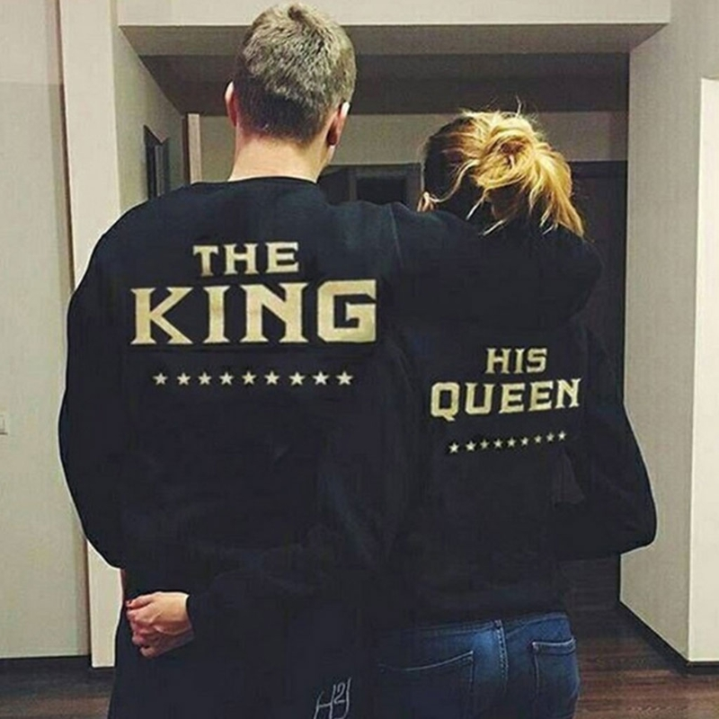 Fashion New Design Women Queen King Letter Print Long Sleeve Top Family Couple Shirt Hot 2018