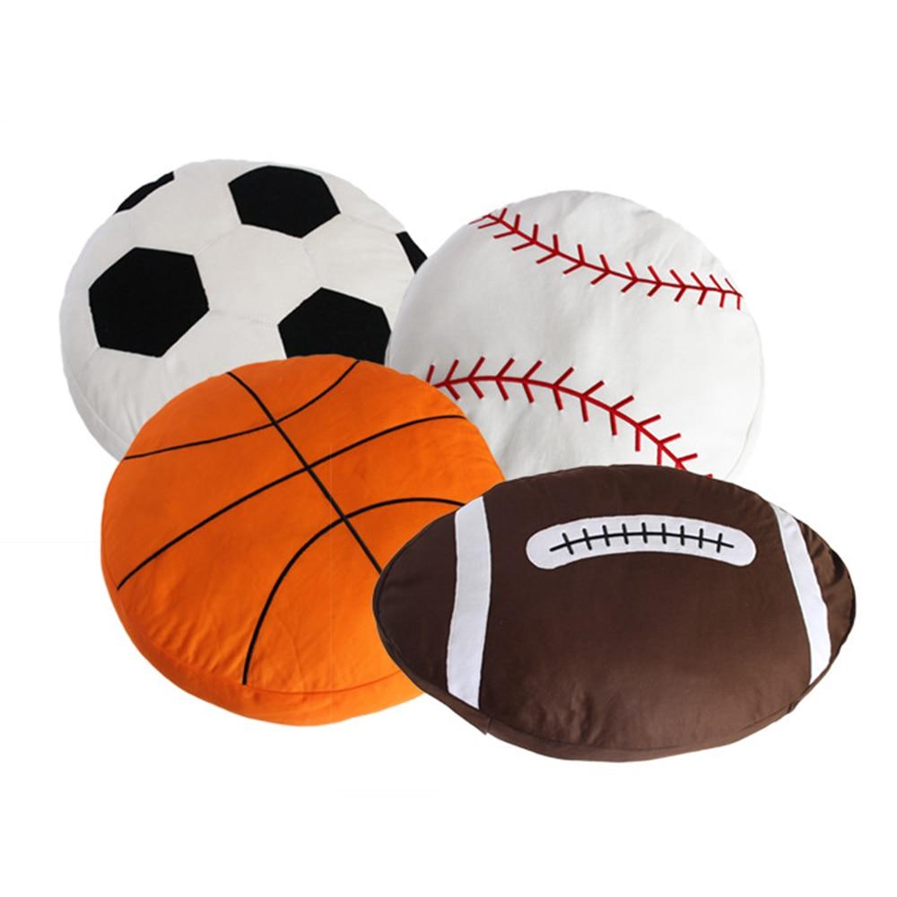 Novelty Stuffed Gift Basketball Baseball Rugby Football Soccer Ball Home Bar Cafe Decorative Plush Cushion Pillow Toy