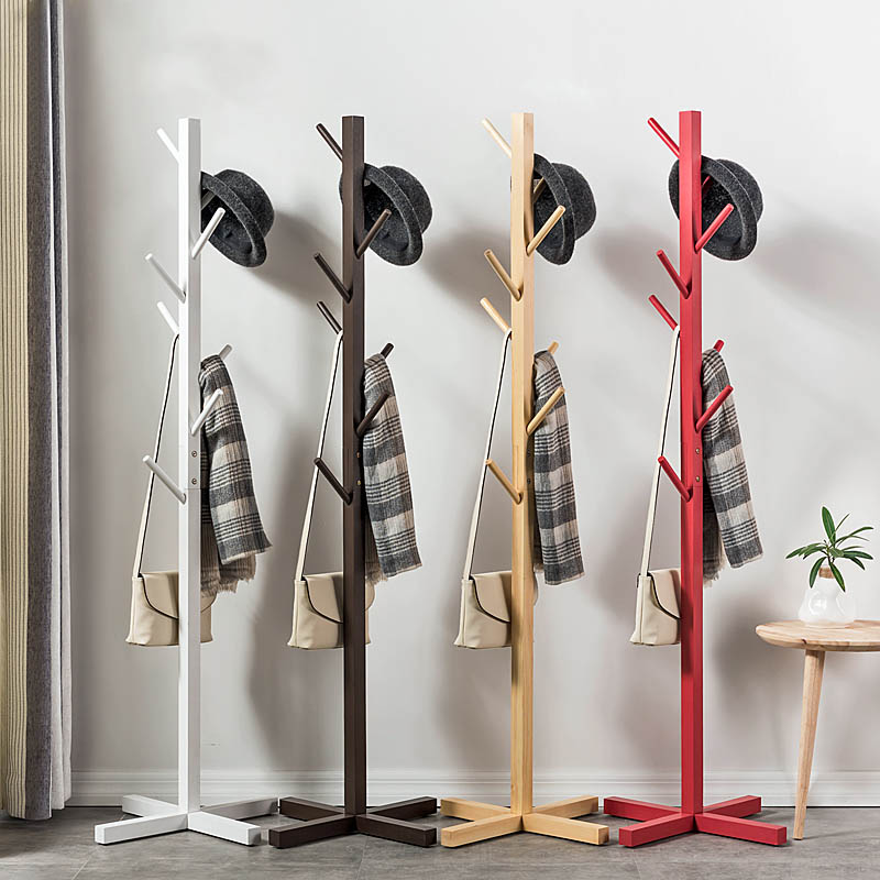 Simple Solid Wood Floor Coat Rack Creative Multifunctional