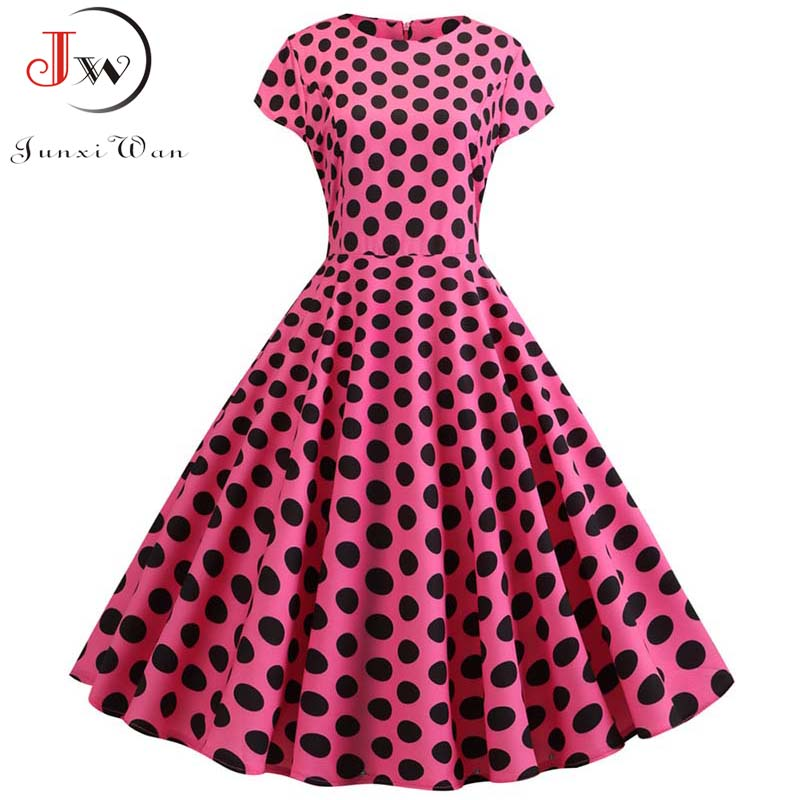 Summer Short Sleeve Polka Dot Dress Women Elegant Work Office Casual Print A-Line Vintage Dress Big Swing Rockabilly Vestidos 6