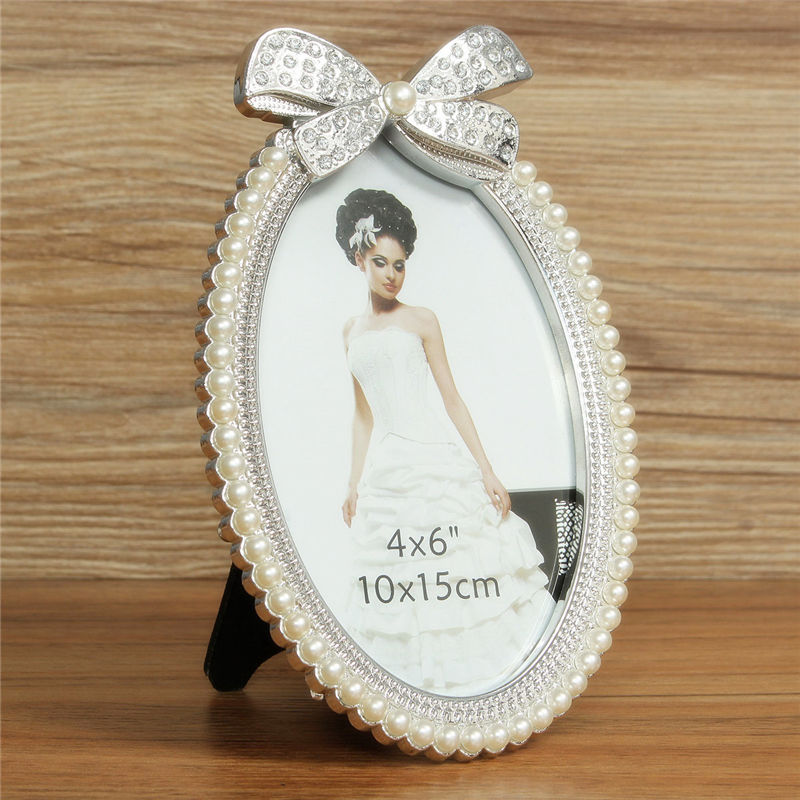 brand new european photo frame artificial crystal pearl oval photo picture frame crystal bow pearl 6