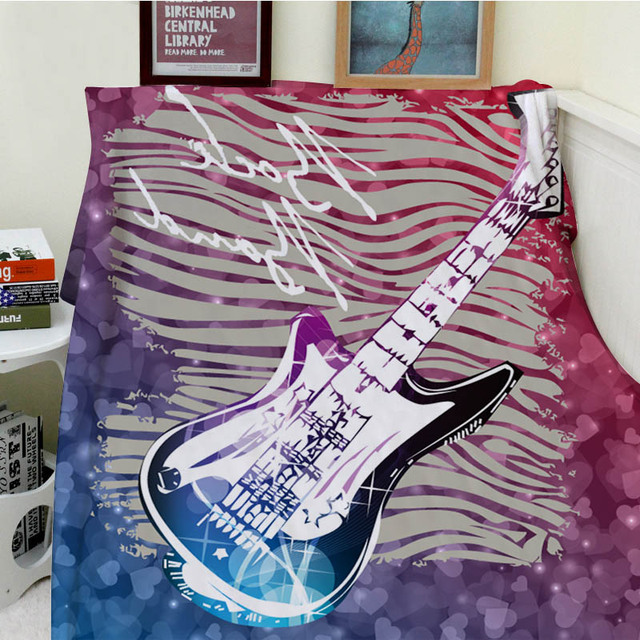 Blankets Cobertor Warmth Soft Plush Personal Music Guitar Rattan