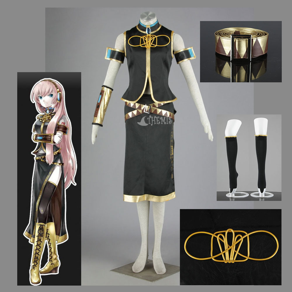 Athemis Vocaloid  Megurine Luka Cosplay Elegant Women Dress Set Stand Collar Sleeveless Coat And Sexy Mid-calf Dress Outfit