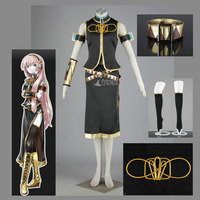 Athemis Vocaloid Megurine Luka Cosplay Elegant Women Dress Set Stand Collar Sleeveless Coat and Sexy Mid calf Dress Outfit