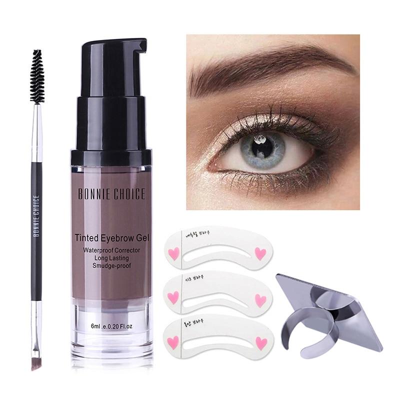 BONNIE CHOICE Waterproof Eyebrow Shadow Makeup Enhancer Tint Brush Kit Eye Brow Gel Cream Make Up Set Paint Tool Wax Cosmetic