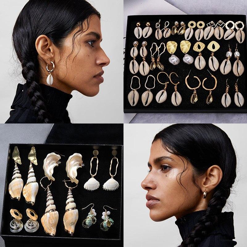 Miwens Za New 32 Designs Shell Conch 2PCS/Sets Drop Earrings Women Trendy Dangle Earring Wholesale Factory Jewelry Vacation A306