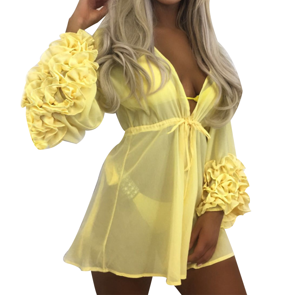 Women Sexy Beach Cover-up Long Puff Sleeve Bathing Suit Summer Beach Wear Pareo Swimwear Mesh Beach Dress Tunic Robe