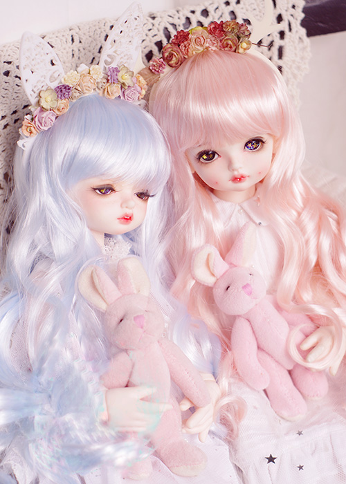 BJD doll wigs water blue water pink Imitation mohair long curly hair wigs for 1/3 1/4 1/6 BJD DD SD MSD YOSD doll wigs jd031 1 8 1 6 1 4 long curly wig 5 6inch 6 7inch and 7 8inch synthetic mohair wig for bjd doll yosd msd doll accessories