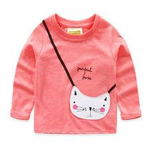 2016 Spring Fall new Girls Cartoon Tees Pretty Kids T-Shirts Long Sleeve Cute Cotton Children Clothing Path Cat Lovely T-shirts
