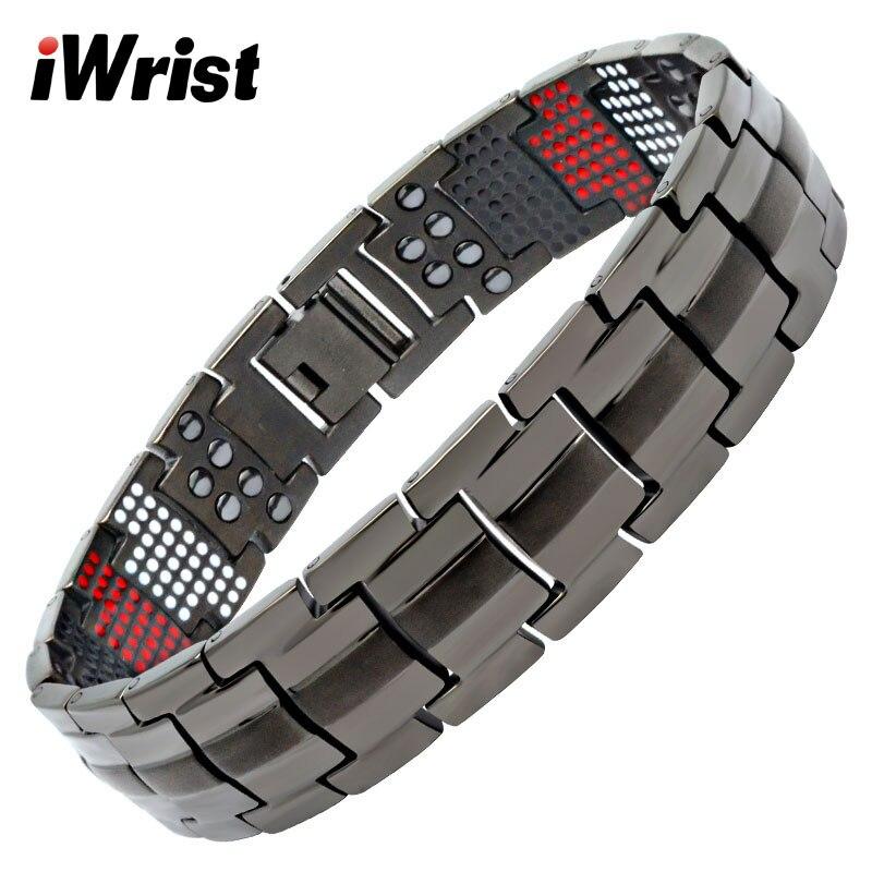 iWrist Fashion Magnetic Pure Titanium Men's Bracelet 4 In 1 Negative Ion Far Infrared Germanium Bracelet For Pain Relief
