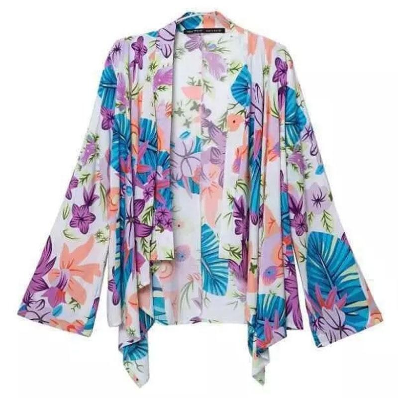 Colorful Print Women Summer Autumn Kimono Long Sleeve Elegant ...