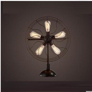 LOF Fan Retro Table Lamp American Nostalgic Nordic Industrial Wind Living Room Coffee Restaurant Bedroom Bedside Bar GY338