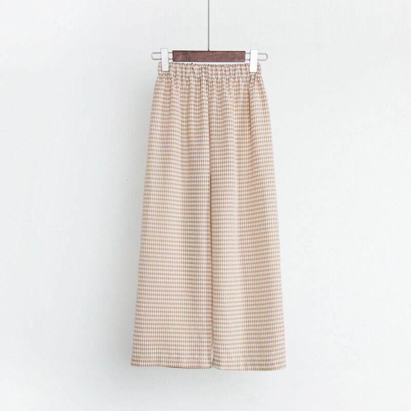 Womens suit 2018 New style Retro Summer Slim Thin Lattice Bottoming shirt + High waist Wide leg pants Fashion Elegant suit