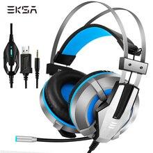 EKSA E800 Wired משחקי אוזניות USB LED סטריאו אוזניות עם מיקרופון משחקי אוזניות עבור PS4 Xbox אחד מחשב מחשב גיימר