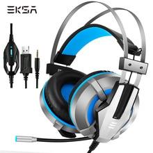 Eksa e800 fone de ouvido com fio para jogos, fone de ouvido estéreo com led usb para jogos com microfone para ps4, xbox one, computador e pc gamer