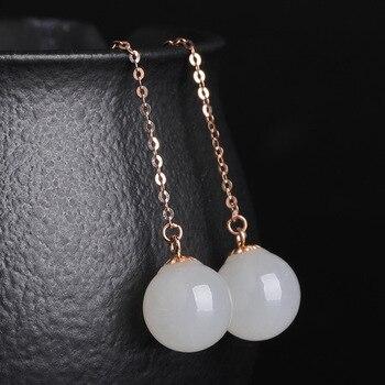 2020 Earings Fashion Jewelry National Wind Jade Beads Earrings 8 Mm Long Female With Certificate Of 18 K Rose Hetian Ear Wire  3