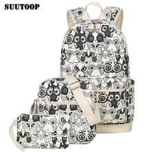 2020 Women Animal Owl Printing Backpack Canvas Bookbags School Backpacks Bags for Teenage girls Bagpack Backbag