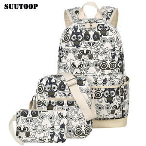 Image 1 - 2020女性動物フクロウ印刷バックパックキャンバスbookbagsスクールバックパック十代の少女bagpack backbag
