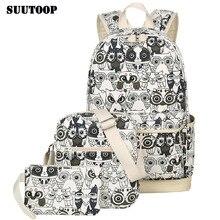 2020 kadın hayvan baykuş baskı sırt çantası tuval okul çantalarını okul sırt çantaları genç kızlar için sırt çantası sırt çantası