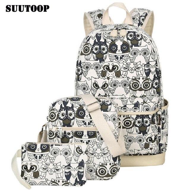 2020 mulheres coruja animal impressão mochila lona bookbagpack mochilas escolares sacos para meninas adolescentes mochila