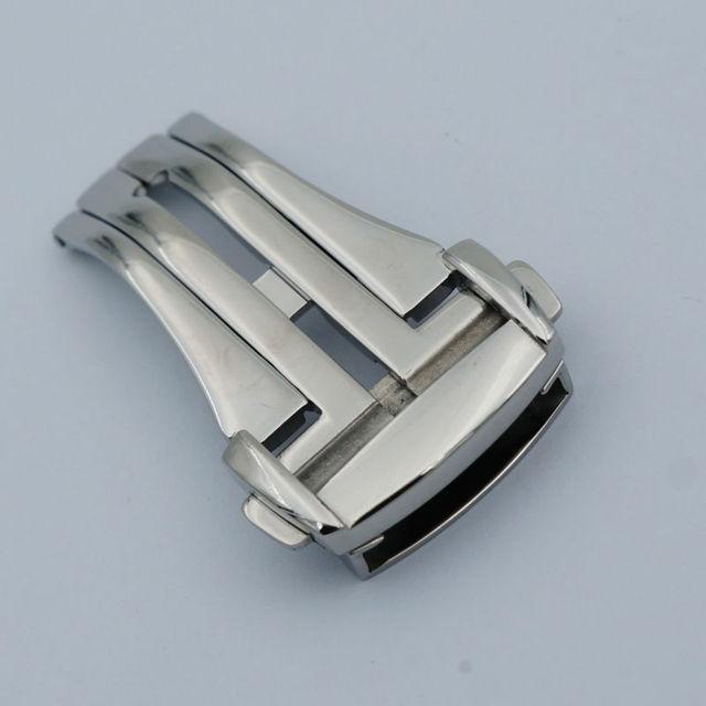 Maikes de alta qualidade aço inoxidável 316L borboleta fivela prata faixa de relógio Strap fecho dobrável 16 mm 18 mm 20 mm para Omega