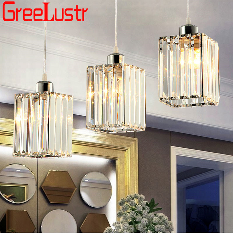 Modern K9 Crystal Chandelier Lighting E27 Lustre Pendant Lamp For Kitchen Dinning Room Home Decoration Indoor Light Fixture