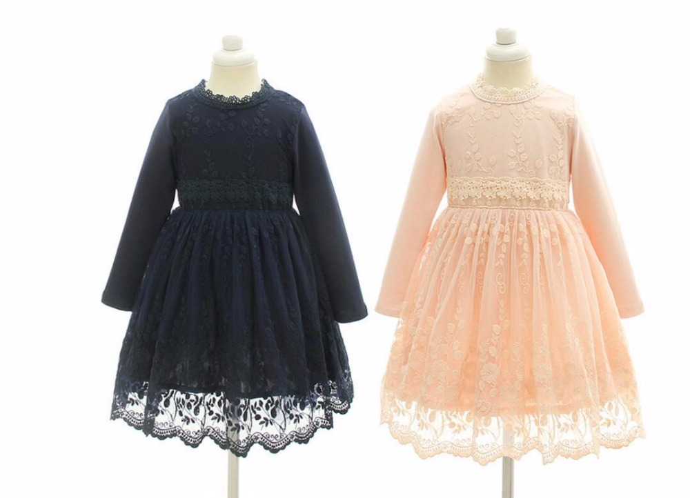New Boutique Lace Mesh Long Sleeve Dresses For Girls Princess Children Fairy Fall Elegant Dress 5 pcs/lot, Wholesale acthink 2017 new girls formal solid lace dress shirt brand princess style long sleeve t shirts for girls children clothing mc029