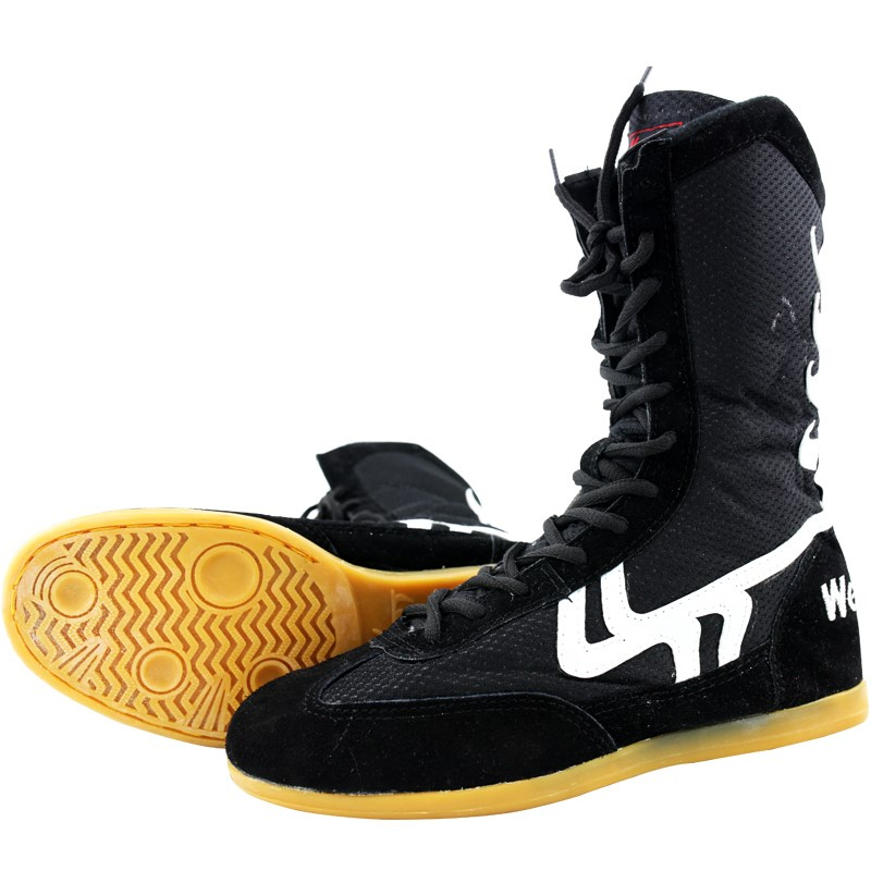 USHINE professional training shoes cow muscle sole lace-up shoes sneakers KungFu boxing shoes authentic wrestling shoes for man image