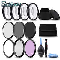 49 52 55 58 62 67 72 77 MM Macro Close-up Filter +1+2+4+10 Set+ UV CPL FLD +ND2 4 8 Camera Lens Filter+Hood for Canon Nikon Sony