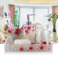 Modern resin five piece bathroom Wedding Suit European style bathroom products, wash gargle cup Kit