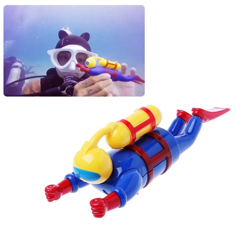 Swimmer Scuba Diver Toy Wind Up Clockwork Swimming Simulation Potential Diver Sea Baby Bath Toy Baby Kids Dabbling Bath Toy-M35
