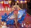 Женская Мода Костюм Певица Кошку Ходить Этап Производительность Носите Ночной Клуб Платья Комбинезон Длинная Юбка