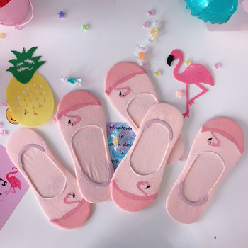 PEONFLY Japanese funny Cute Version Cartoon Flamingo Socks Low Help Cotton Silica Gel Non-slip Boat Socks Woman Invisible Socks